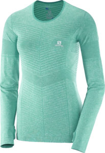 2017-18 Salomon Elevate Seamless Long Sleeve Womens Tee Dynasty Green