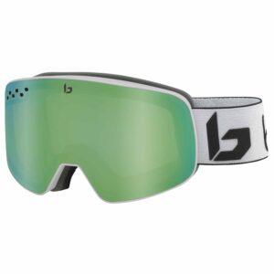 2019-20 bolle nevada ski goggle matte white corp green emerald lens