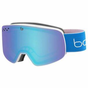 2019-20 bolle nevada ski goggle matte white blue race aurora